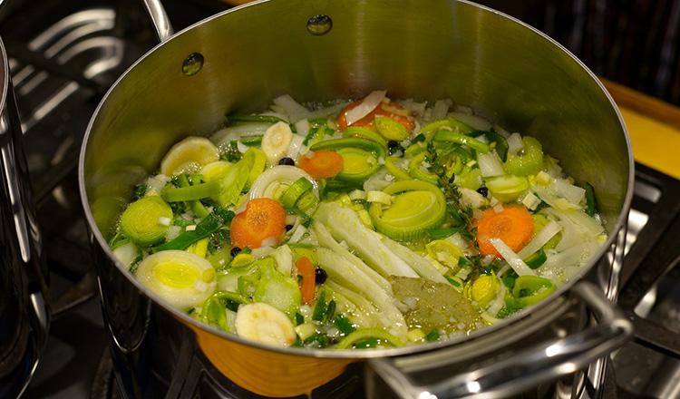 Making vegetable broth.