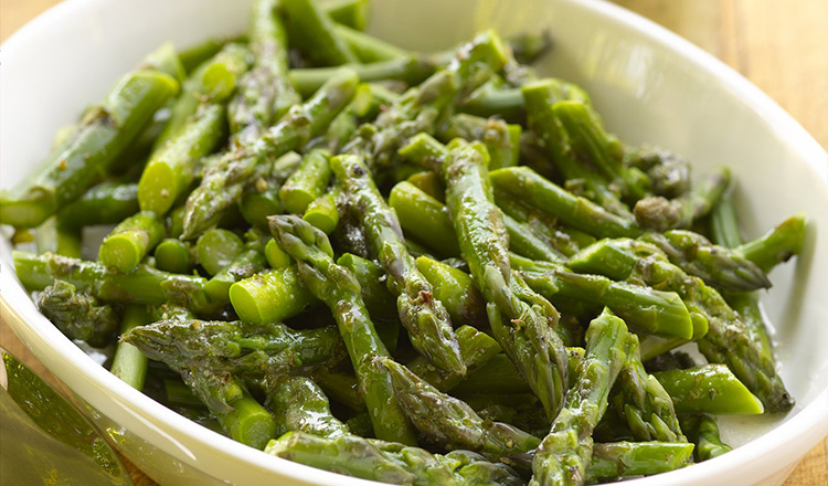 Chilled Asparagus with Mustard Herb Vinaigrette.