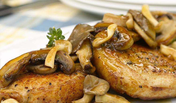 Pork Cutlets with a Wild Mushroom Ragout