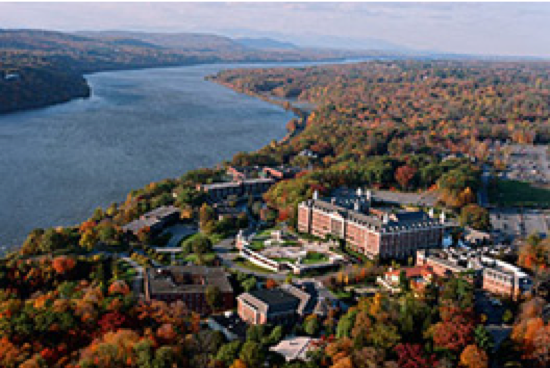 Aerial view of The Culinary Institute of America in Hyde Park, NY on the Hudson River.