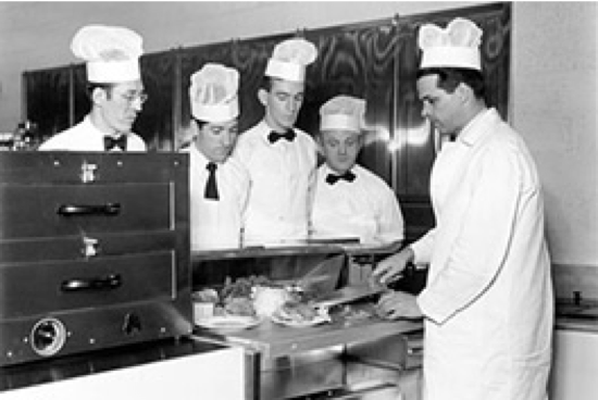 Vintage photo of culinary students at The Culinary Institute of America in New Haven, CT.