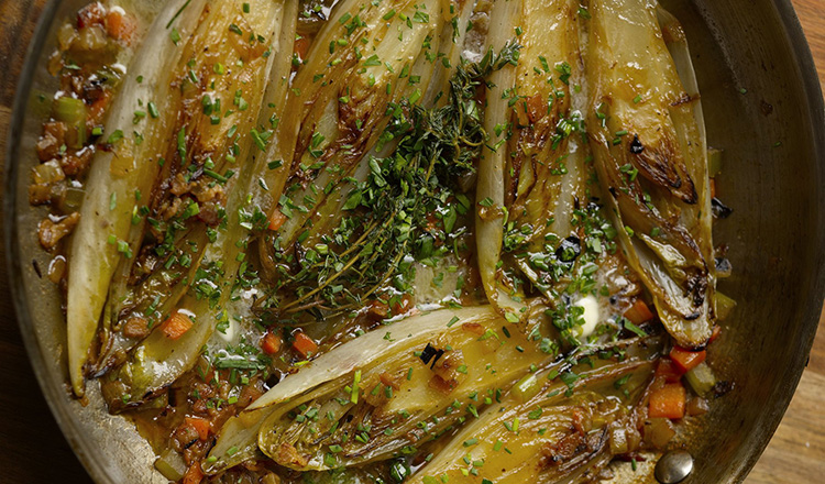 Braised Belgian Endive with Caramelized Vegetables.