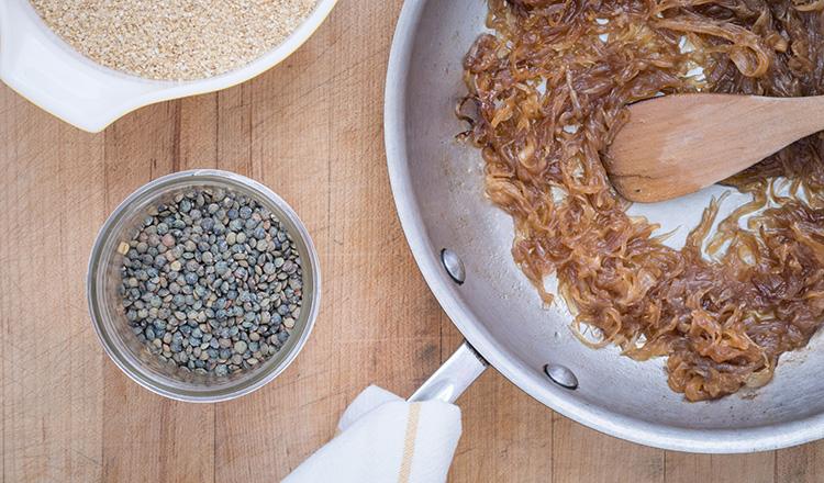 Bulgur & Lentil Pilaf With Caramelized Onions