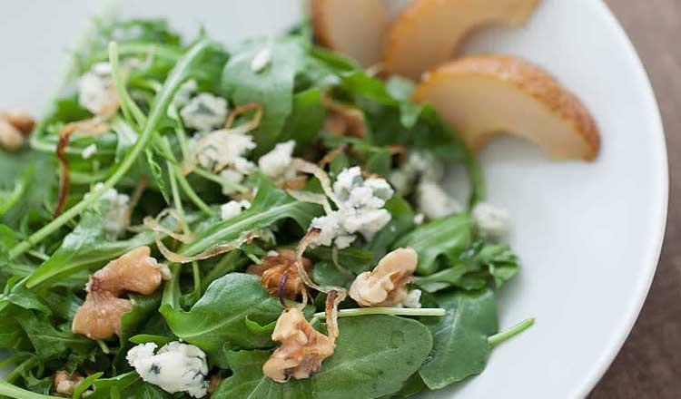 Roasted Pear and Arugula Salad with Caramelized Shallot Vinaigrette