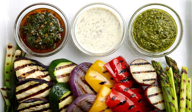 Mediterranean grilled vegetable sauces