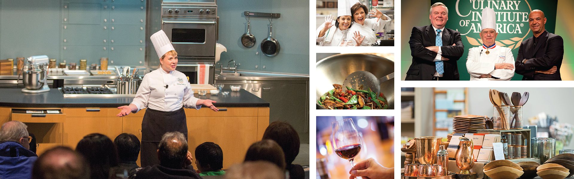 Photo collage of activities at The Culinary Institute of America.