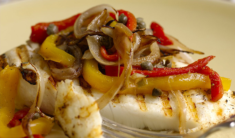 Grilled Halibut With Roasted Red & Yellow Pepper Salad
