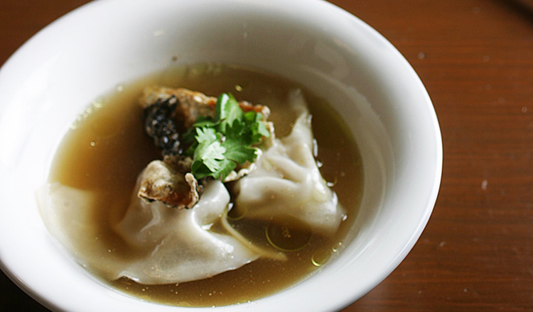 Wonton soup in a bowl