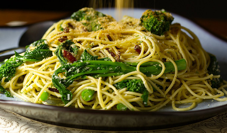 Fedelini With Broccoli Rabe, Pancetta, Parmigiano-Reggiano & Toasted Bread Crumbs