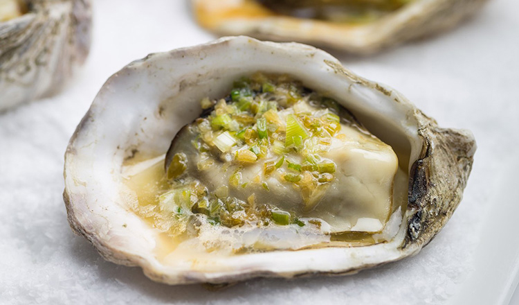 Grilled Oysters With Green Onion Butter