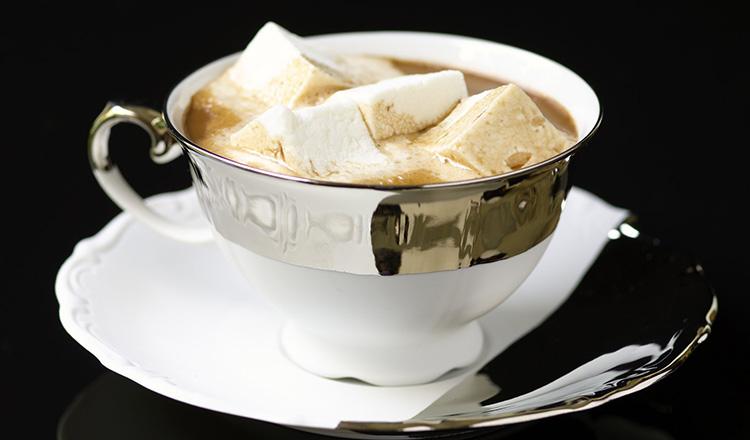 Mug of hot chocolate with marshmallows.