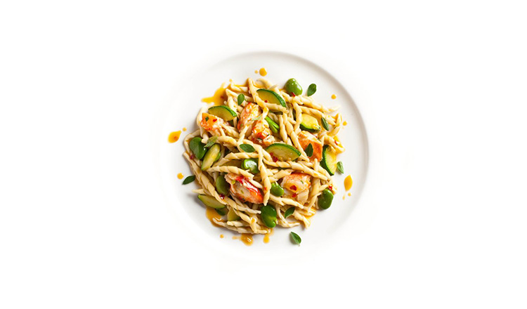 Trofiette with lobster, leeks, zucchini, and fava beans