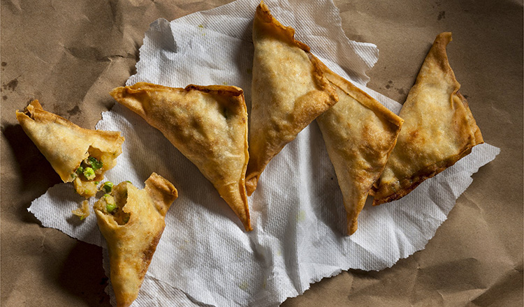 Samosas stuffed with peas and potatoes