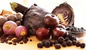 plums, blackberries, rutabaga, red cabbage, raisins, blueberries