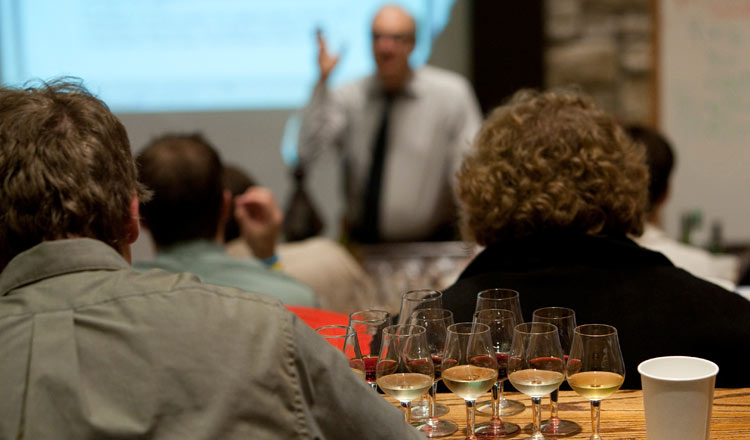 wine class at the CIA in New York