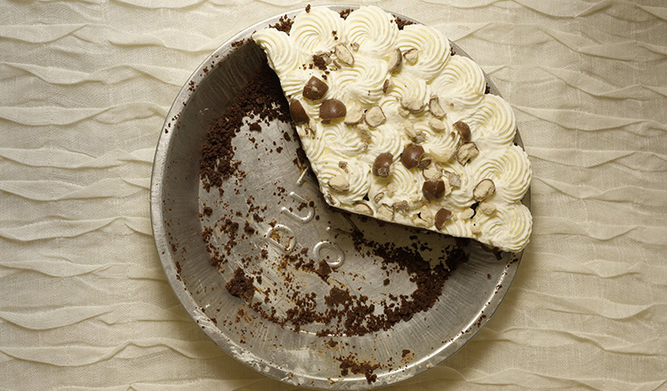 Chocolate malt pie with cookie crumb crust