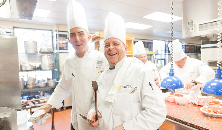CIA Chef and adult learning at a boot camp in the CIA kitchens