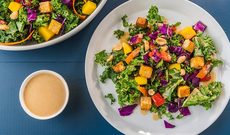 Kale Chopped Salad with Tofu and Coconut-Peanut Dressing