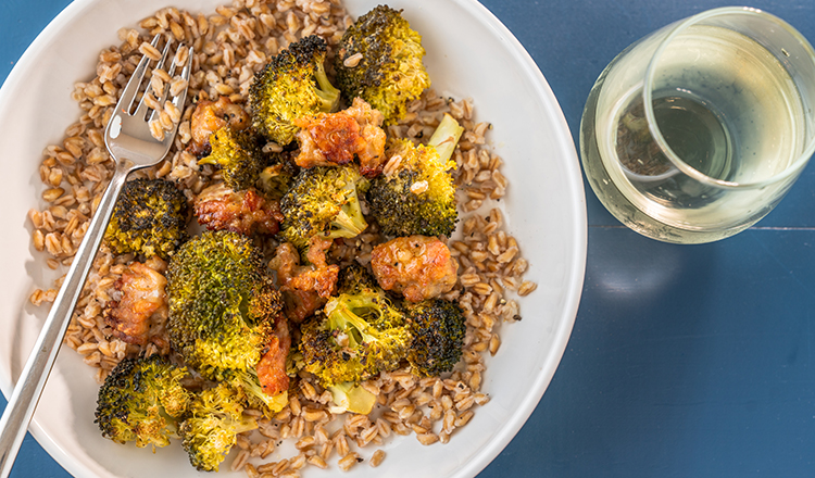 Lemon-Roasted Broccoli and Sausage with Grains
