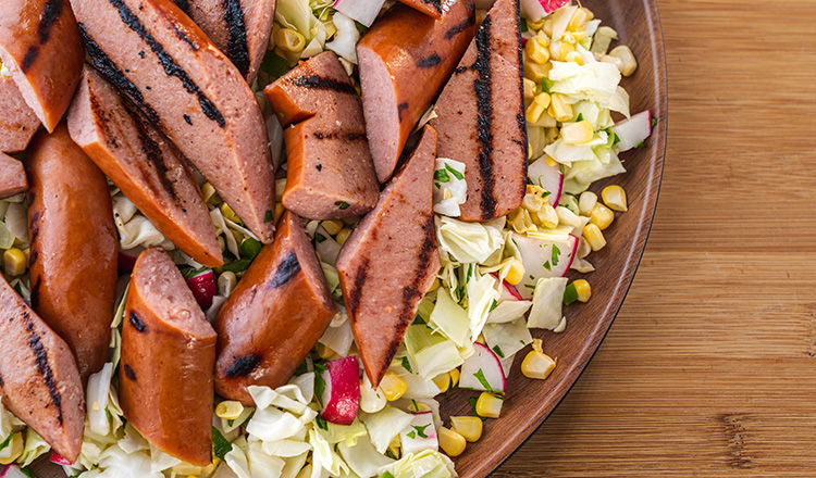 Grilled Kielbasa with Corn Slaw