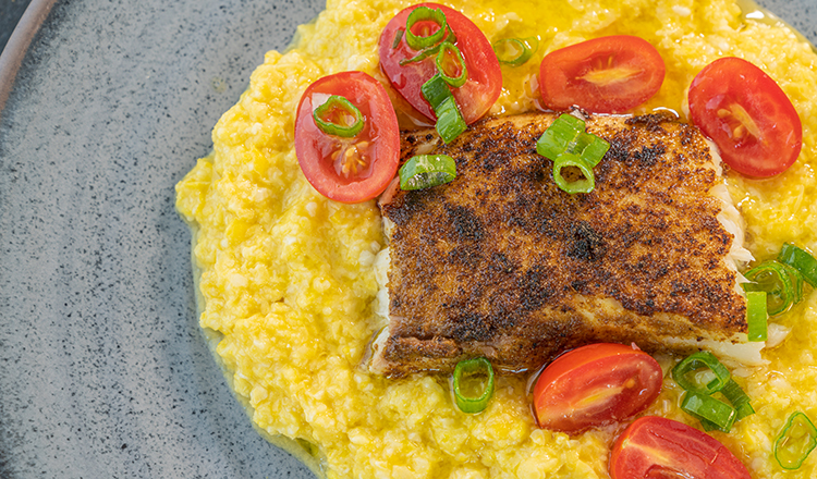 Creamy Corn with Blackened Tilapia and tomatoes