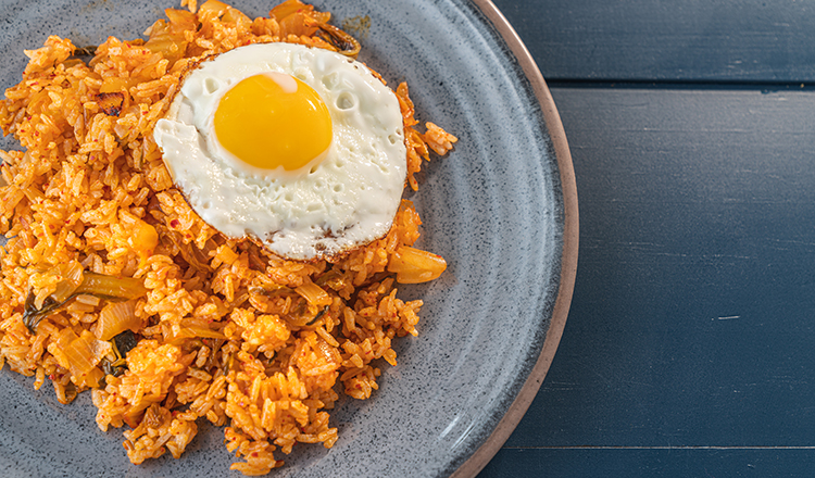 Kimchi fried rice with fried egg