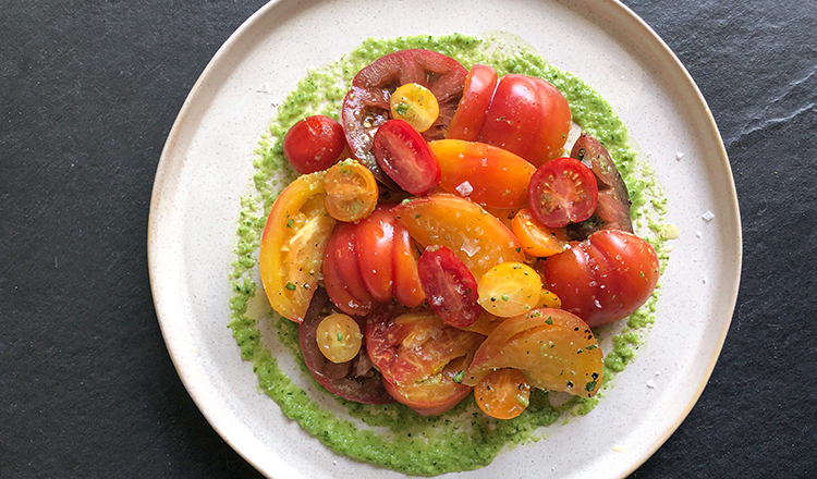 Tomato Salad with Green Vinaigrette