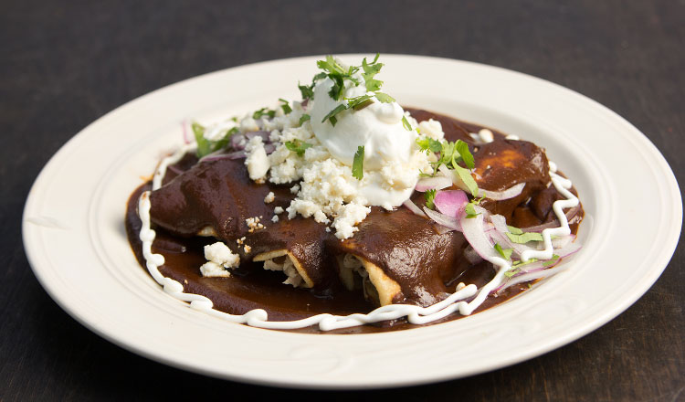 Mole sauce on a classic Mexican dish