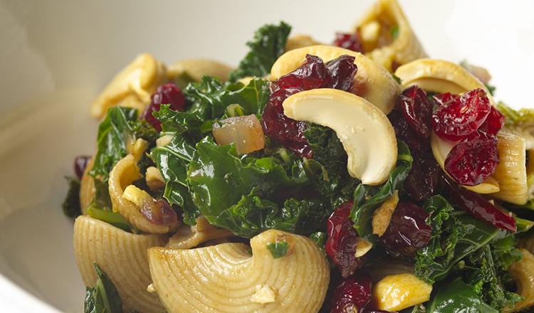 Kale, Cashew, and Cranberry Pasta Salad