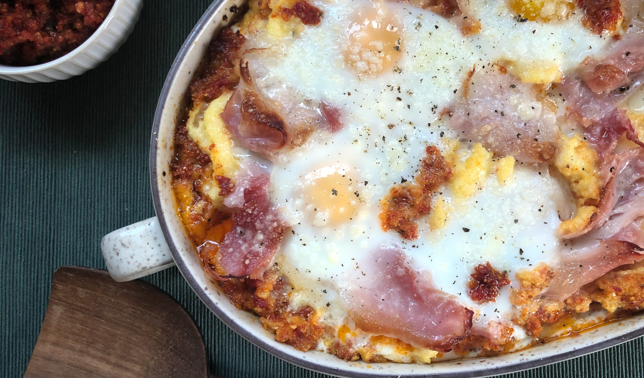 Baked Polenta with Eggs, Prosciutto, and Sun-Dried Tomato