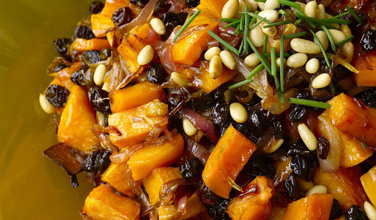 Caramelized Sweet Potatoes with Pine Nuts and Currants