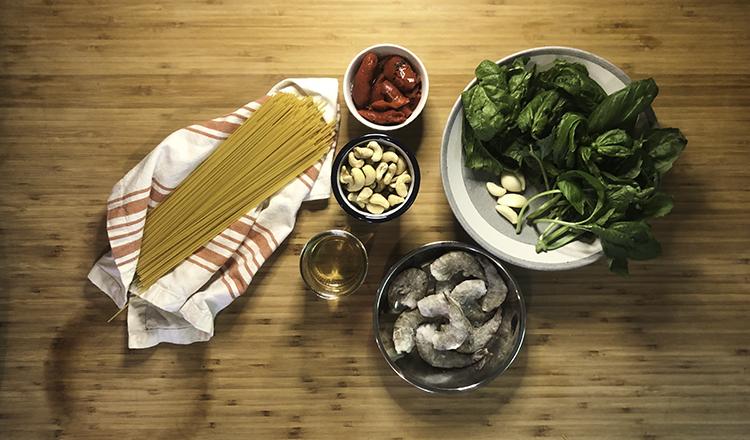 Ingredients for creamy cashew pesto pasta
