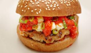 hamburger with ketchup