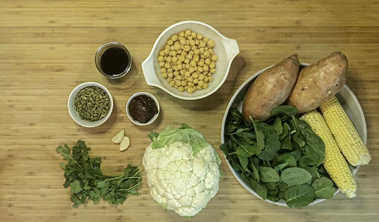 Grilled vegetable bowl ingredients