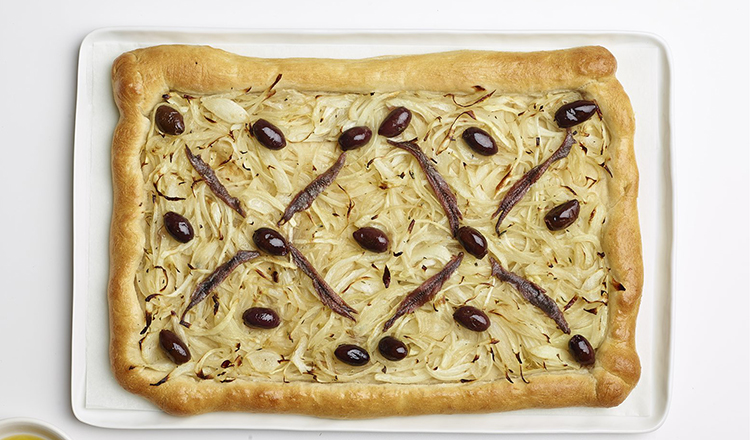 Pissaladiere with onions, olives, and anchovies