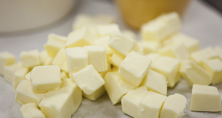 Butter cubed for pie crust