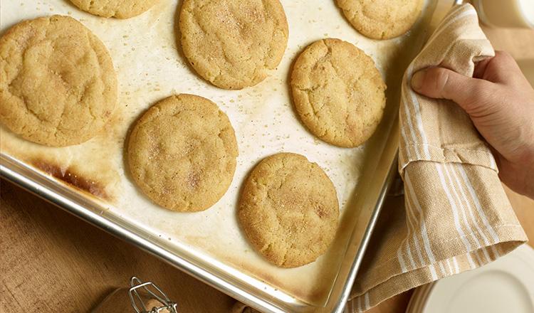 Snickerdoodle cookies on baking sheet