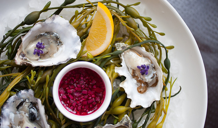 Oysters with flowers and lemon