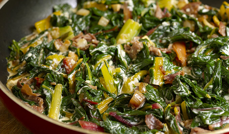 Creamed Swiss Chard with Prosciutto