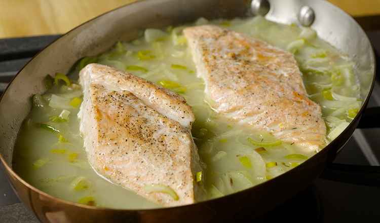 Fish poached in fennel orange broth