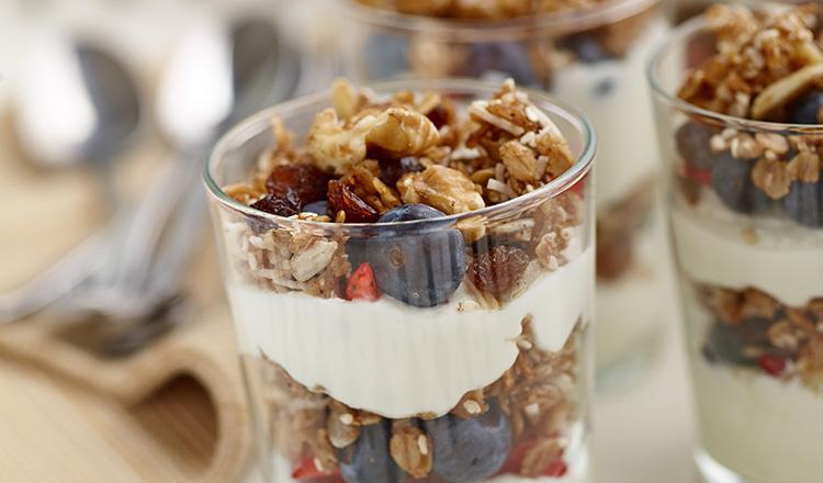 Granola and yogurt parfait with berries