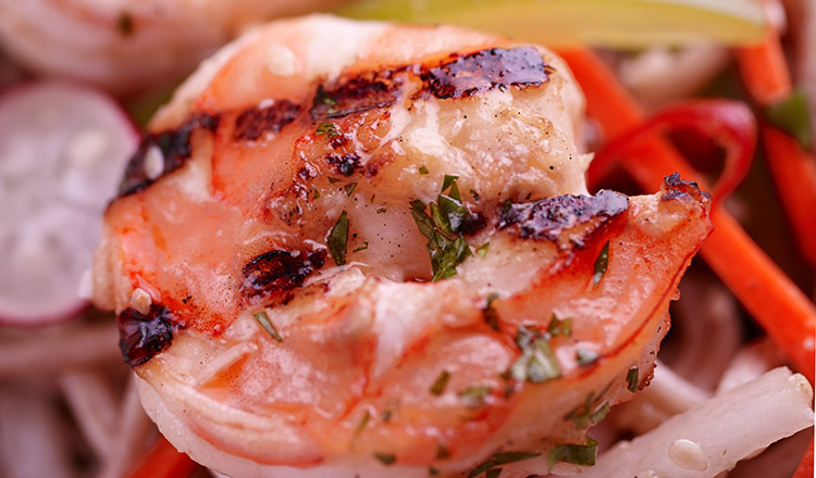 Grilled Garlic Shrimp and radish salad