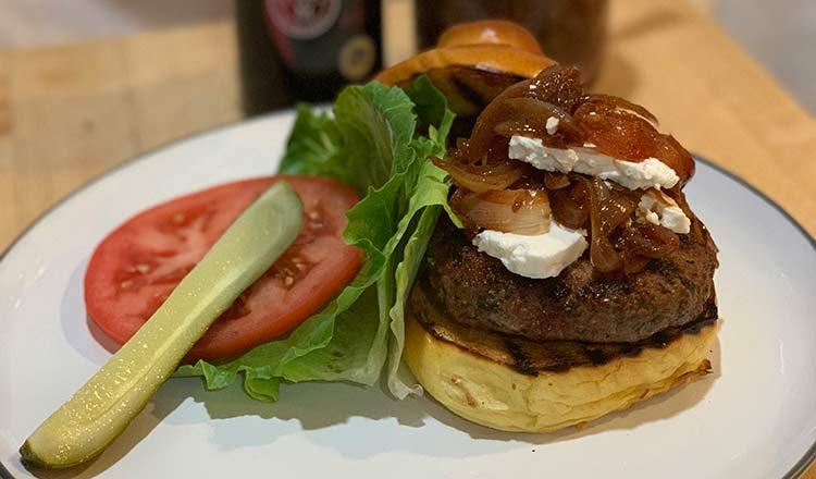 Balsamic Vinegar of Modena PGI Glazed Onions and Feta on a Grilled Greek Lamb Burger