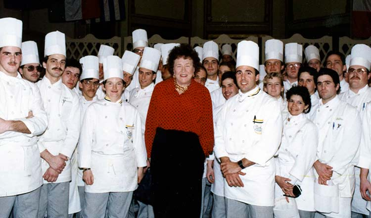 Julia Child with CIA student and faculty